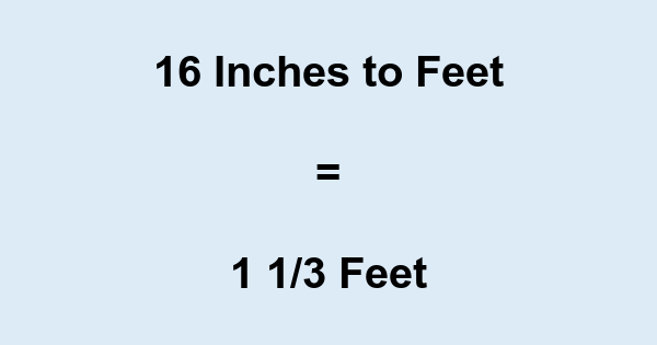 16 Inches to Feet