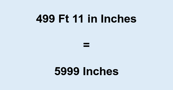 499 Ft 11 in Inches