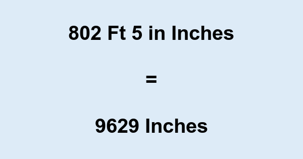 802 Ft 5 in Inches
