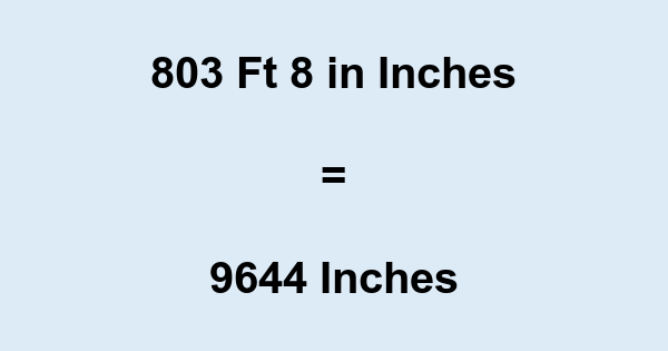 803 Ft 8 in Inches