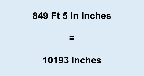 849 Ft 5 in Inches