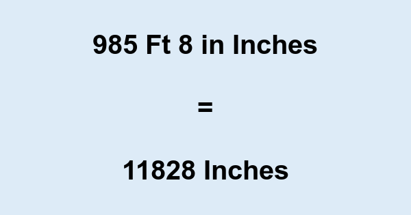 985 Ft 8 in Inches