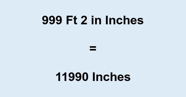 999 Ft 2 in Inches