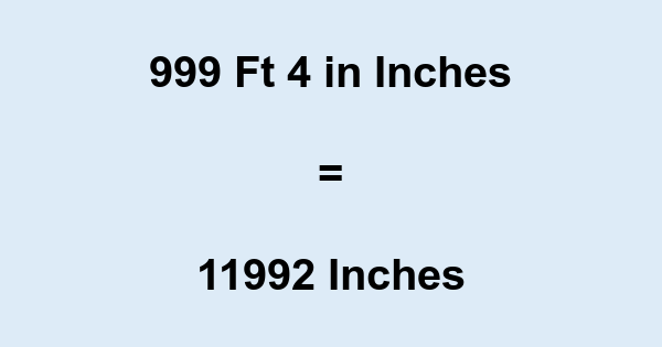 999 Ft 4 in Inches