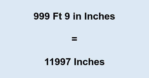 999 Ft 9 in Inches